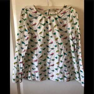 Mini Boden long sleeve cotton bird print girls top